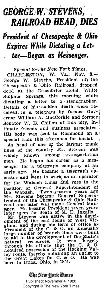 George W. Stevens obituary in The New York Times