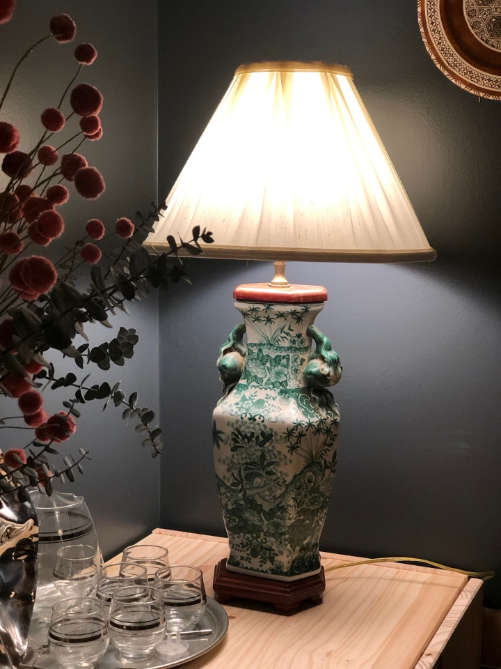 Green and White Porcelain Lamp –SOLD